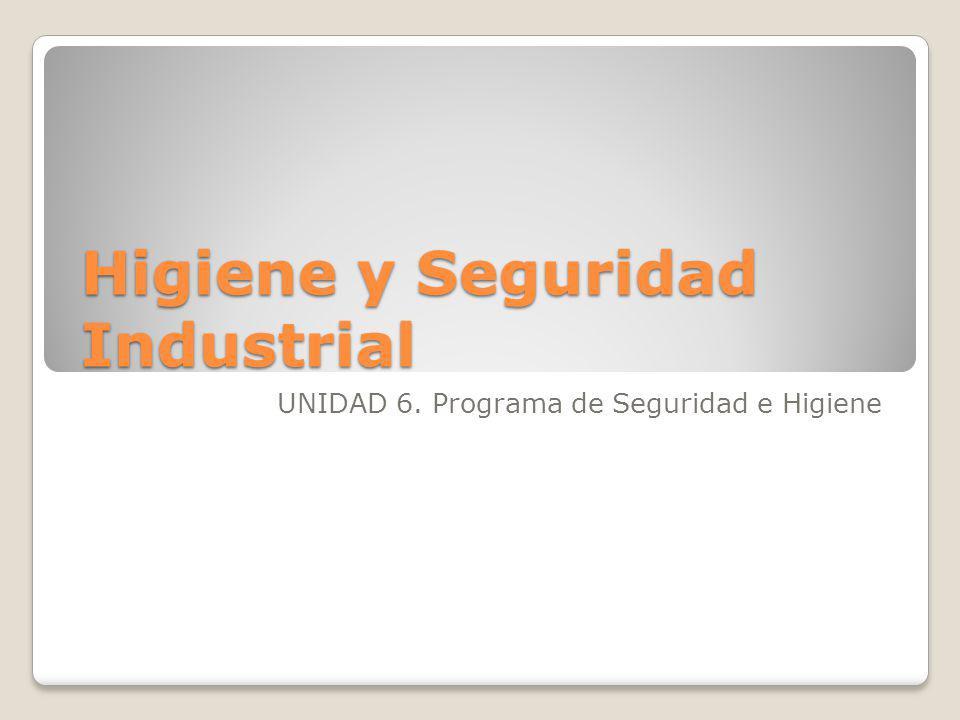 Higiene y Seguridad Industrial UNIDAD 6. Programa de Seguridad e Higiene