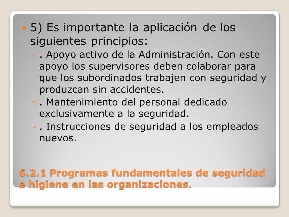 6.2.1 Programas fundamentales de seguridad e higiene en las organizaciones.