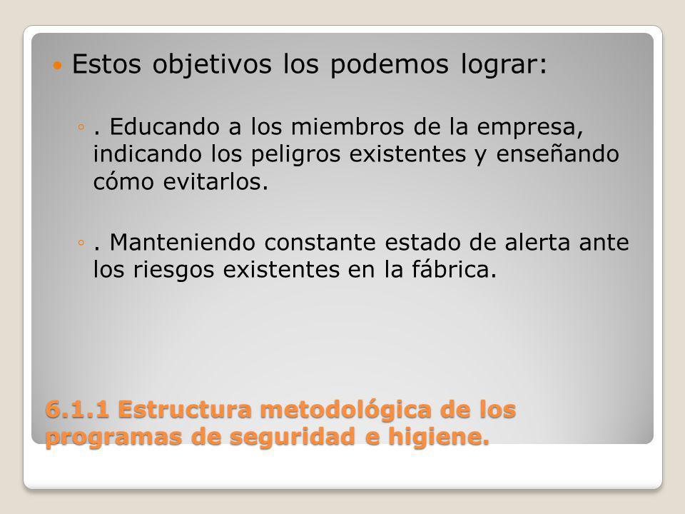 6.2.1 Programas fundamentales de seguridad e higiene en las organizaciones..