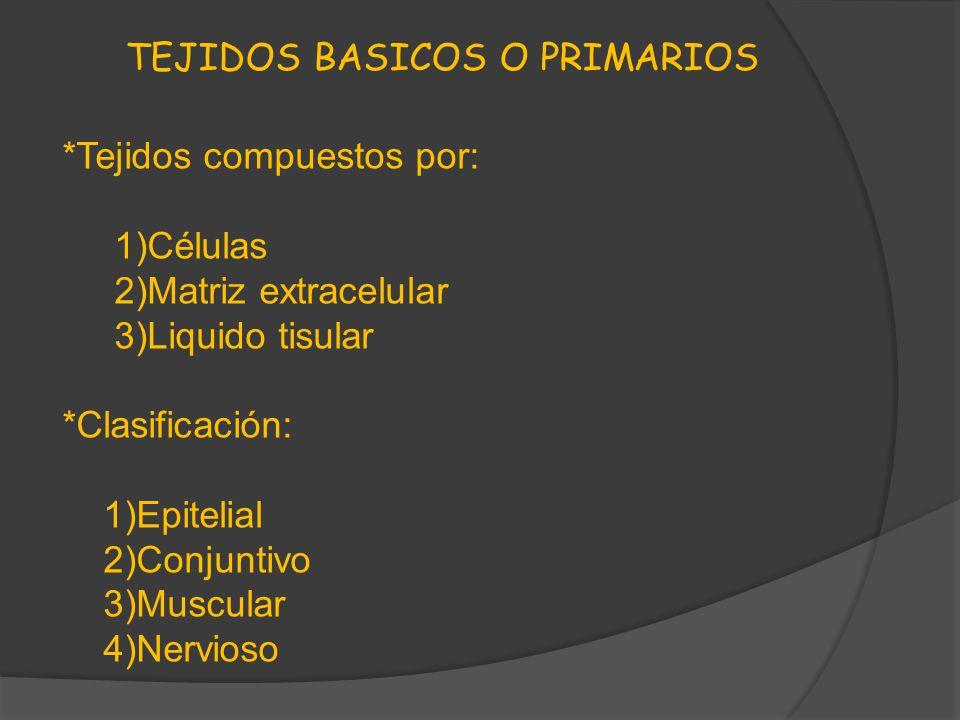 TEJIDOS BASICOS O PRIMARIOS *Tejidos compuestos por: 1)Células 2)Matriz extracelular 3)Liquido tisular *Clasificación: 1)Epitelial 2)Conjuntivo 3)Musc