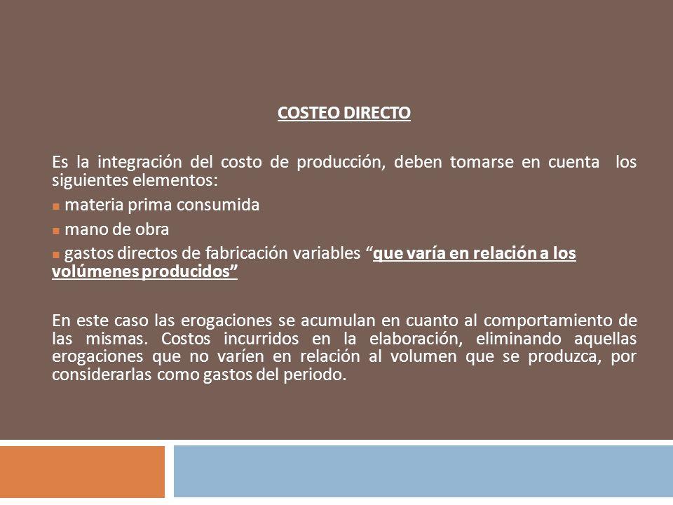 COSTEO DIRECTO Es la integración del costo de producción, deben tomarse en cuenta los siguientes elementos: materia prima consumida mano de obra gasto