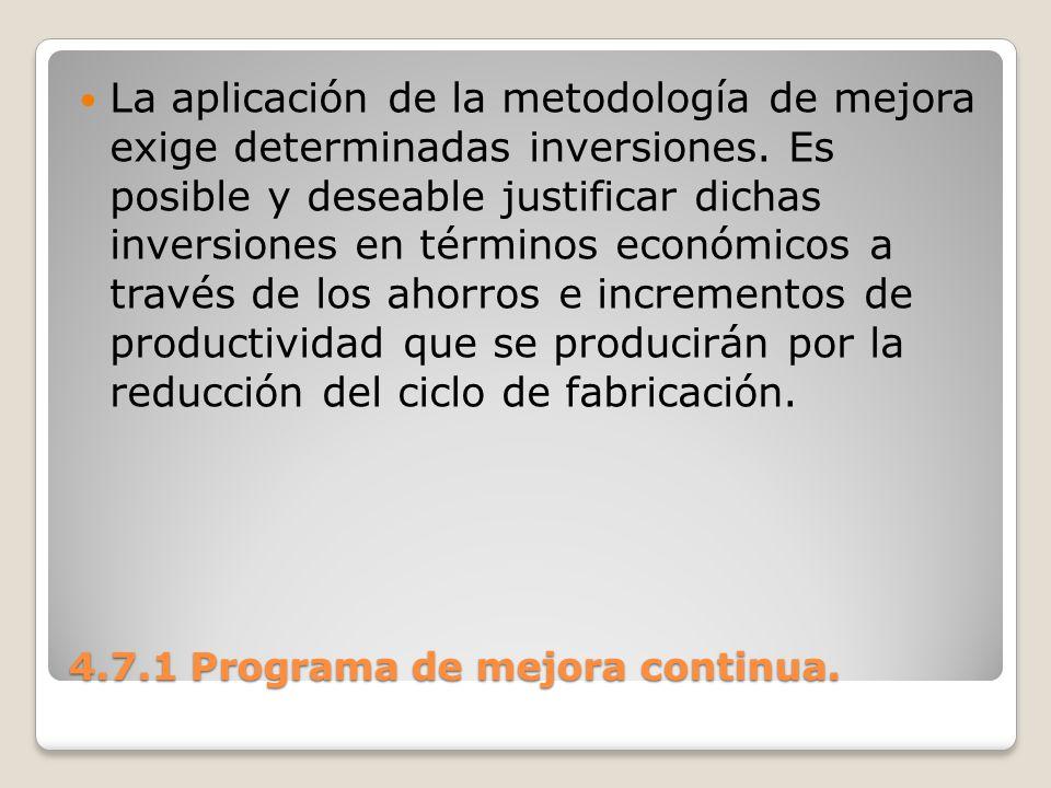4.7.1 Programa de mejora continua. La aplicación de la metodología de mejora exige determinadas inversiones. Es posible y deseable justificar dichas i