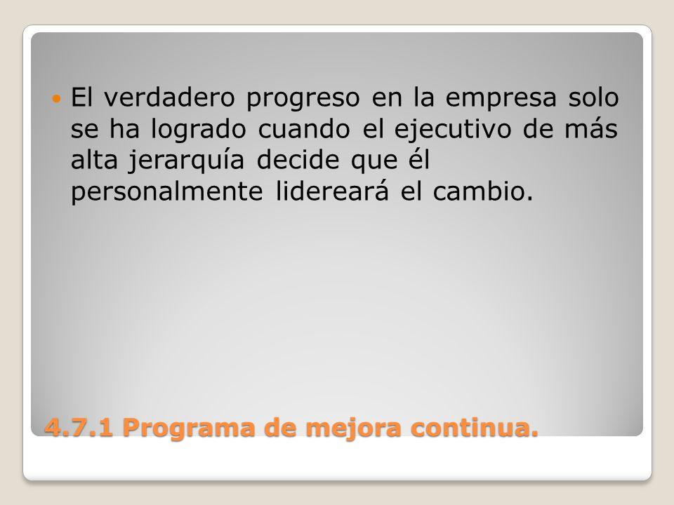 4.7.1 Programa de mejora continua. El verdadero progreso en la empresa solo se ha logrado cuando el ejecutivo de más alta jerarquía decide que él pers