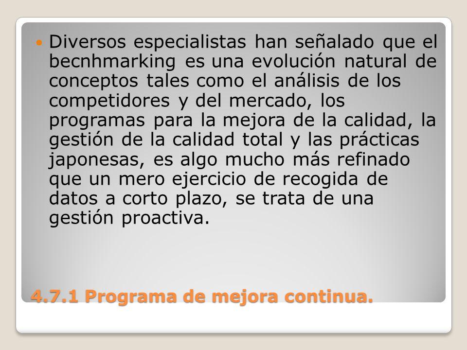 4.7.1 Programa de mejora continua. Diversos especialistas han señalado que el becnhmarking es una evolución natural de conceptos tales como el análisi