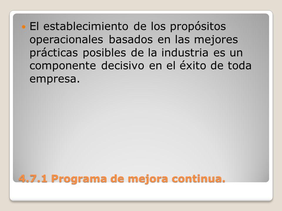 4.7.1 Programa de mejora continua. El establecimiento de los propósitos operacionales basados en las mejores prácticas posibles de la industria es un