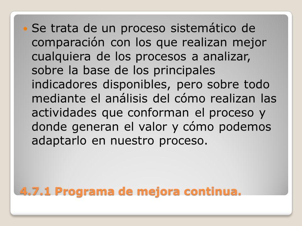 4.7.1 Programa de mejora continua. Se trata de un proceso sistemático de comparación con los que realizan mejor cualquiera de los procesos a analizar,