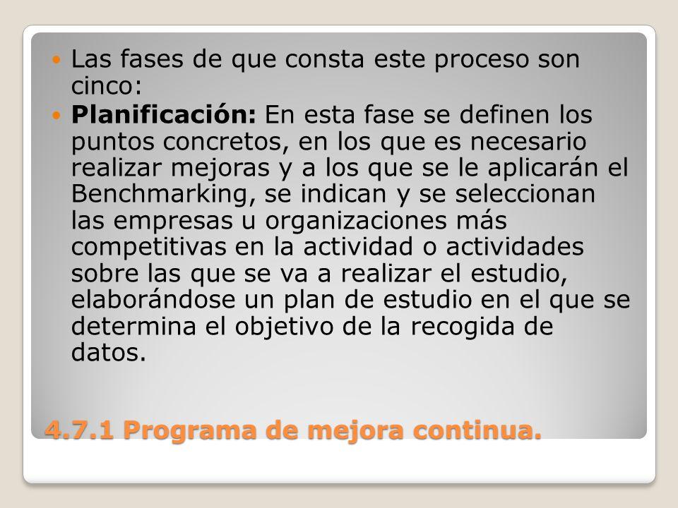 4.7.1 Programa de mejora continua. Las fases de que consta este proceso son cinco: Planificación: En esta fase se definen los puntos concretos, en los
