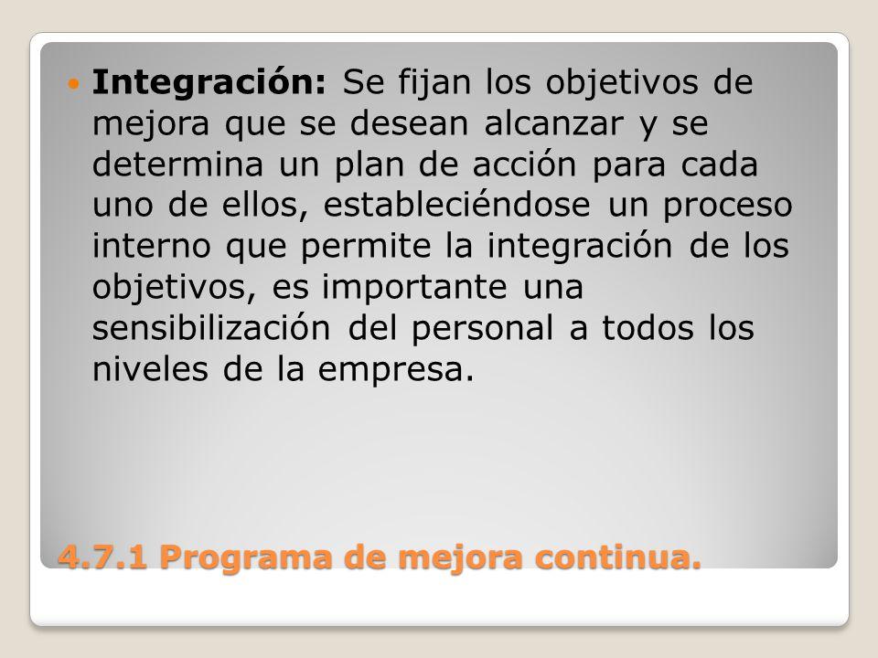 4.7.1 Programa de mejora continua. Integración: Se fijan los objetivos de mejora que se desean alcanzar y se determina un plan de acción para cada uno