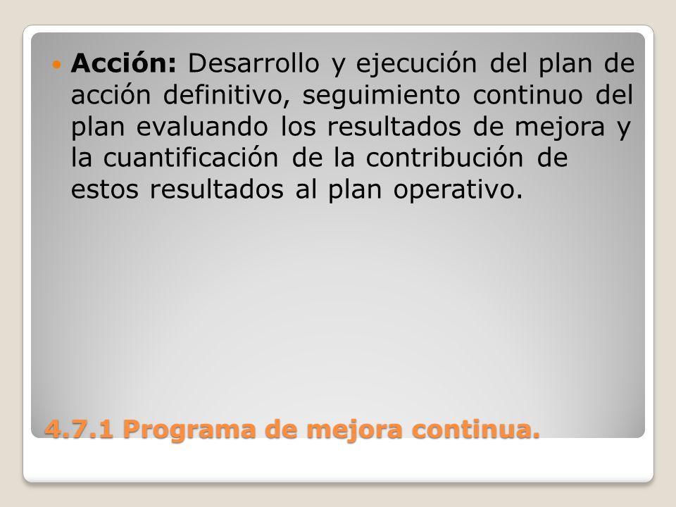 4.7.1 Programa de mejora continua. Acción: Desarrollo y ejecución del plan de acción definitivo, seguimiento continuo del plan evaluando los resultado