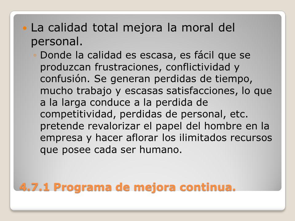 4.7.1 Programa de mejora continua. La calidad total mejora la moral del personal. Donde la calidad es escasa, es fácil que se produzcan frustraciones,