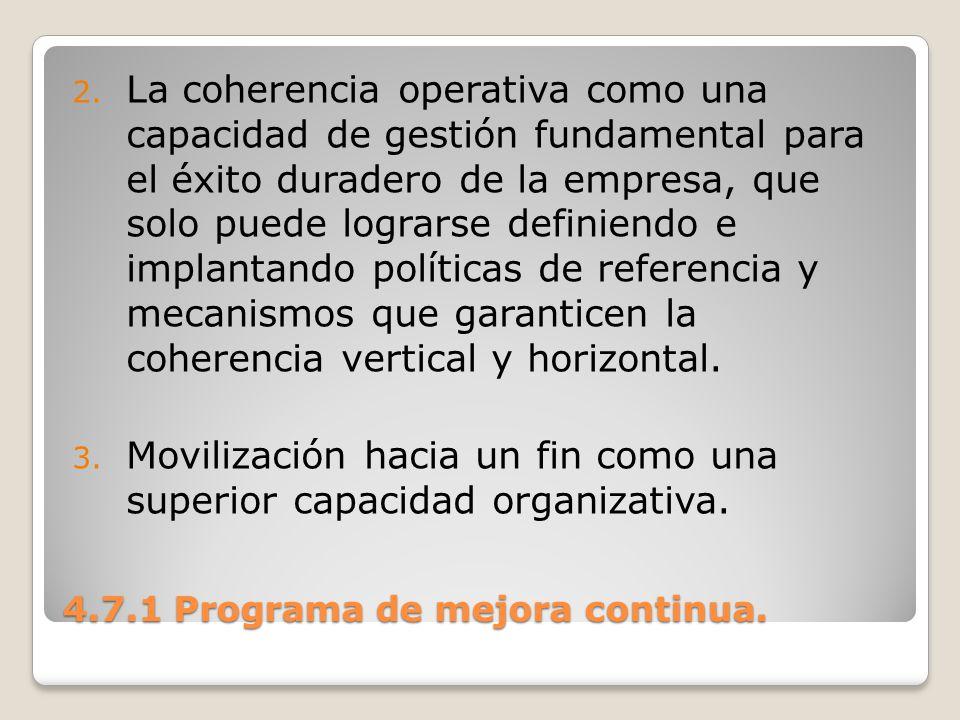 4.7.1 Programa de mejora continua. 2. La coherencia operativa como una capacidad de gestión fundamental para el éxito duradero de la empresa, que solo