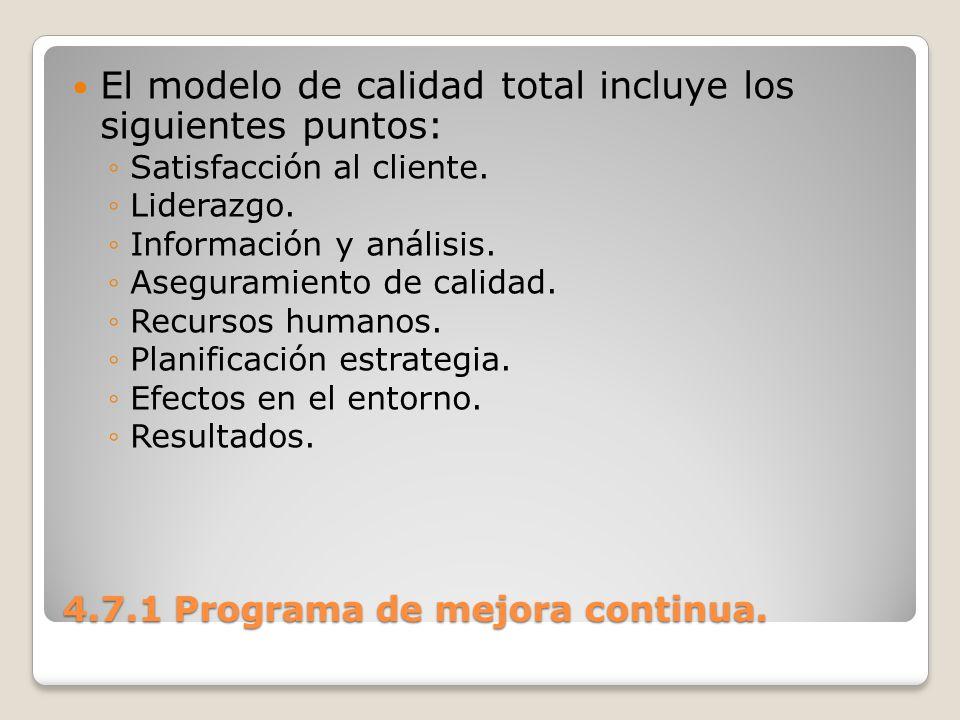 4.7.1 Programa de mejora continua. El modelo de calidad total incluye los siguientes puntos: Satisfacción al cliente. Liderazgo. Información y análisi