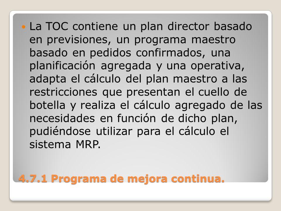 4.7.1 Programa de mejora continua. La TOC contiene un plan director basado en previsiones, un programa maestro basado en pedidos confirmados, una plan