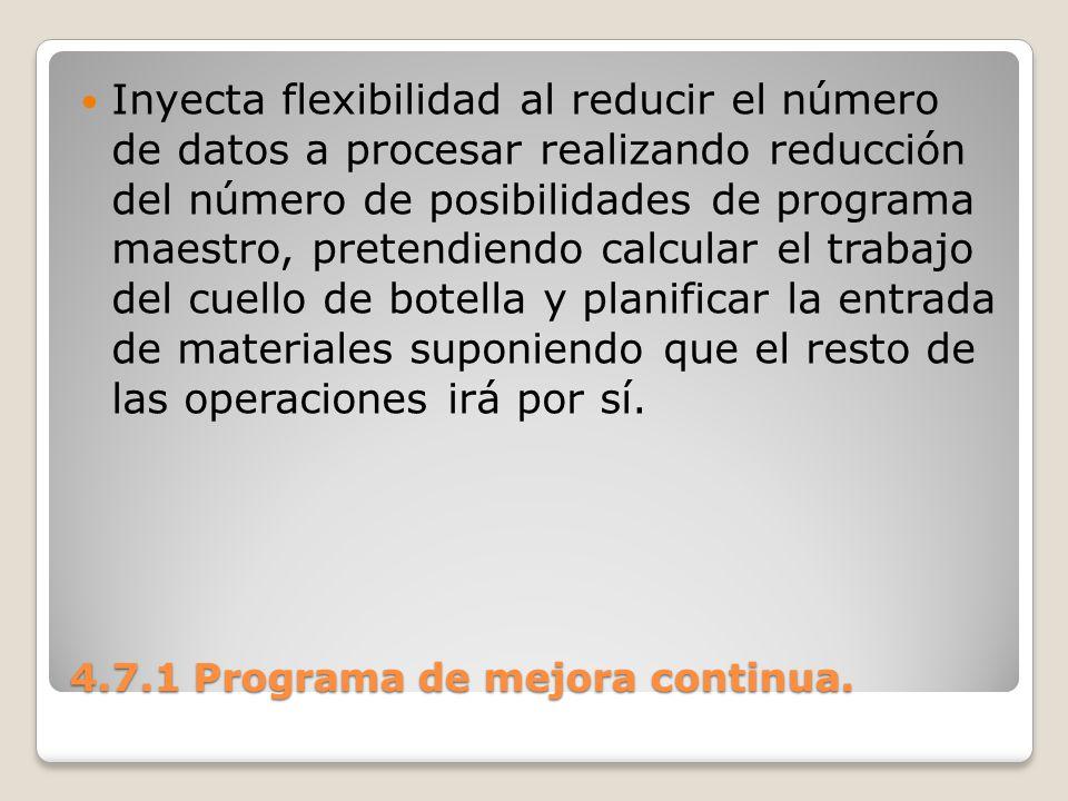 4.7.1 Programa de mejora continua. Inyecta flexibilidad al reducir el número de datos a procesar realizando reducción del número de posibilidades de p