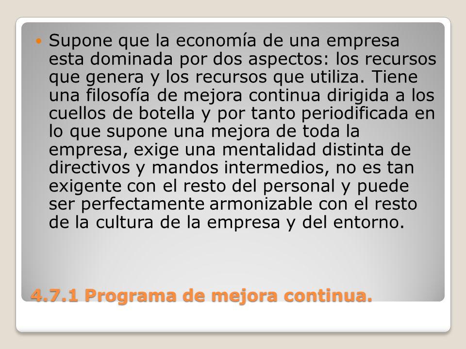 4.7.1 Programa de mejora continua. Supone que la economía de una empresa esta dominada por dos aspectos: los recursos que genera y los recursos que ut