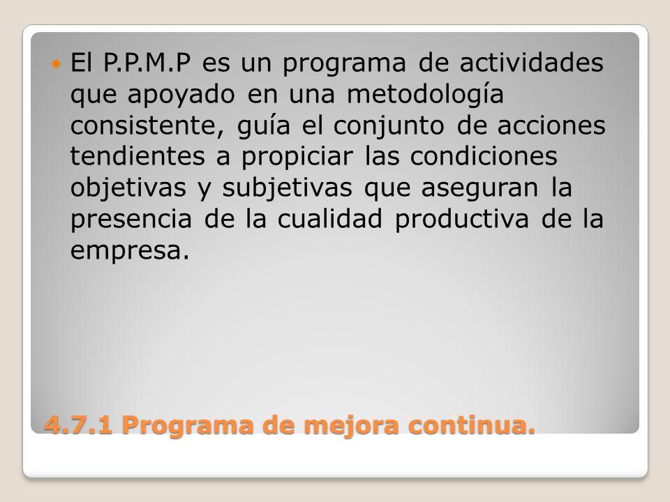 4.7.1 Programa de mejora continua. El P.P.M.P es un programa de actividades que apoyado en una metodología consistente, guía el conjunto de acciones t