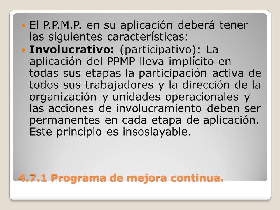 4.7.1 Programa de mejora continua. El P.P.M.P. en su aplicación deberá tener las siguientes características: Involucrativo: (participativo): La aplica