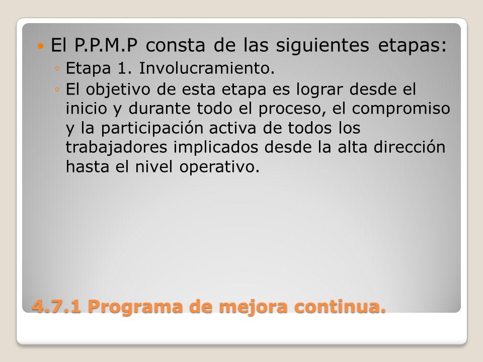 4.7.1 Programa de mejora continua. El P.P.M.P consta de las siguientes etapas: Etapa 1. Involucramiento. El objetivo de esta etapa es lograr desde el
