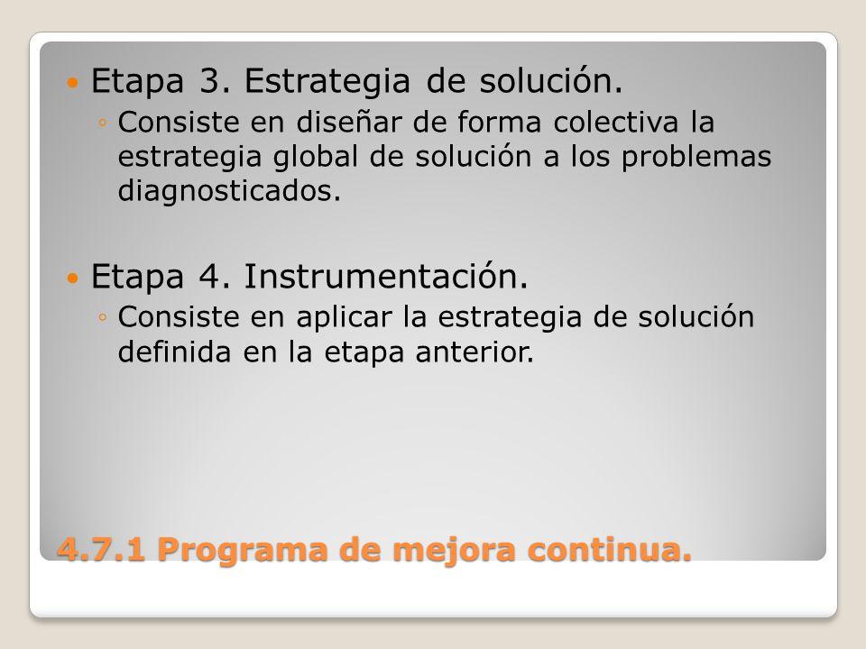 4.7.1 Programa de mejora continua. Etapa 3. Estrategia de solución. Consiste en diseñar de forma colectiva la estrategia global de solución a los prob