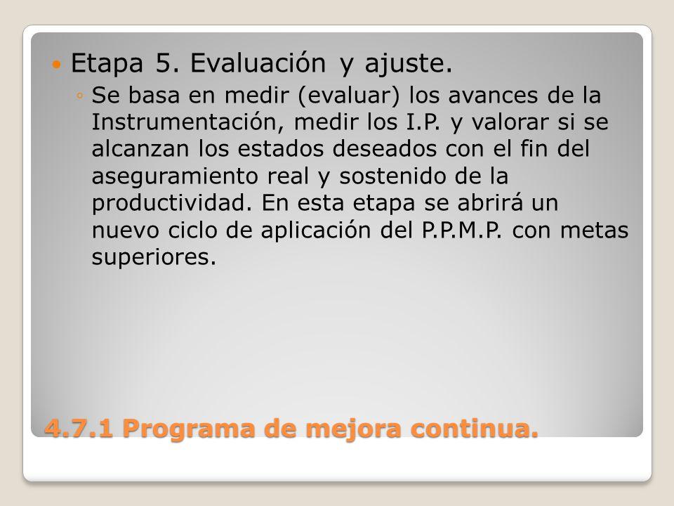 4.7.1 Programa de mejora continua. Etapa 5. Evaluación y ajuste. Se basa en medir (evaluar) los avances de la Instrumentación, medir los I.P. y valora