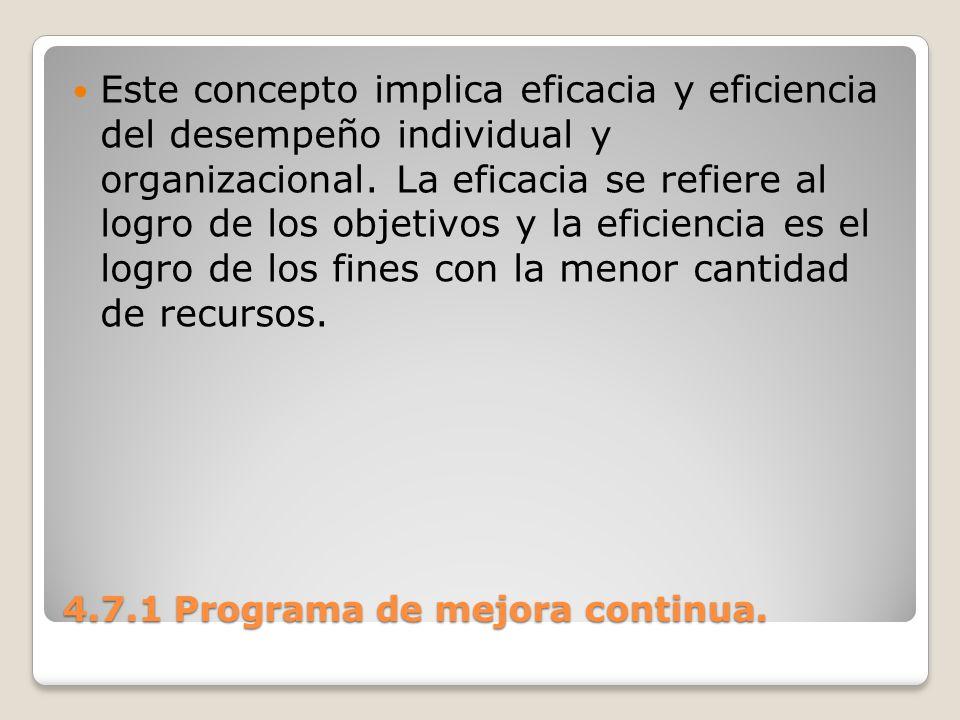 4.7.1 Programa de mejora continua. Este concepto implica eficacia y eficiencia del desempeño individual y organizacional. La eficacia se refiere al lo