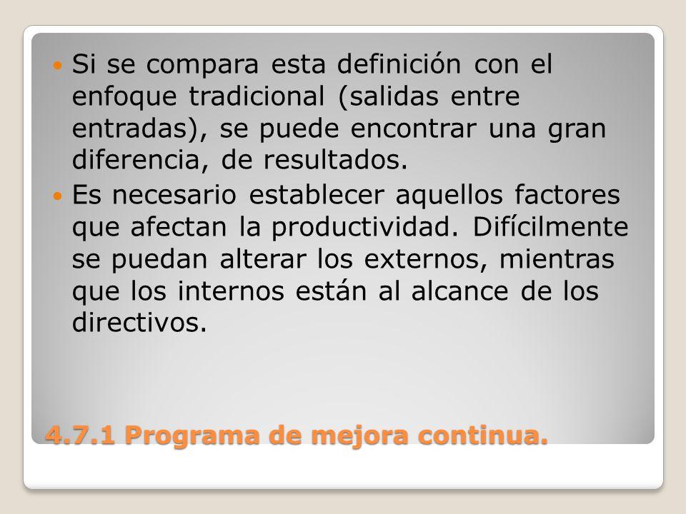 4.7.1 Programa de mejora continua. Si se compara esta definición con el enfoque tradicional (salidas entre entradas), se puede encontrar una gran dife