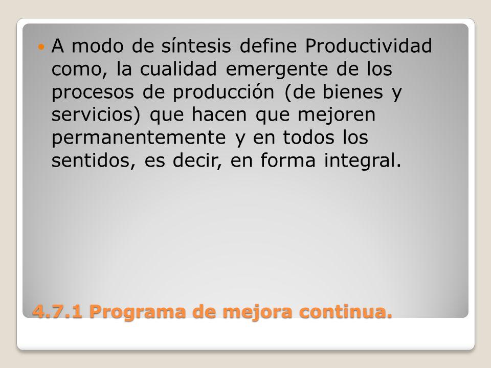 4.7.1 Programa de mejora continua. A modo de síntesis define Productividad como, la cualidad emergente de los procesos de producción (de bienes y serv