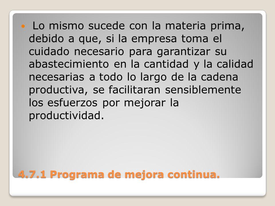 4.7.1 Programa de mejora continua. Lo mismo sucede con la materia prima, debido a que, si la empresa toma el cuidado necesario para garantizar su abas