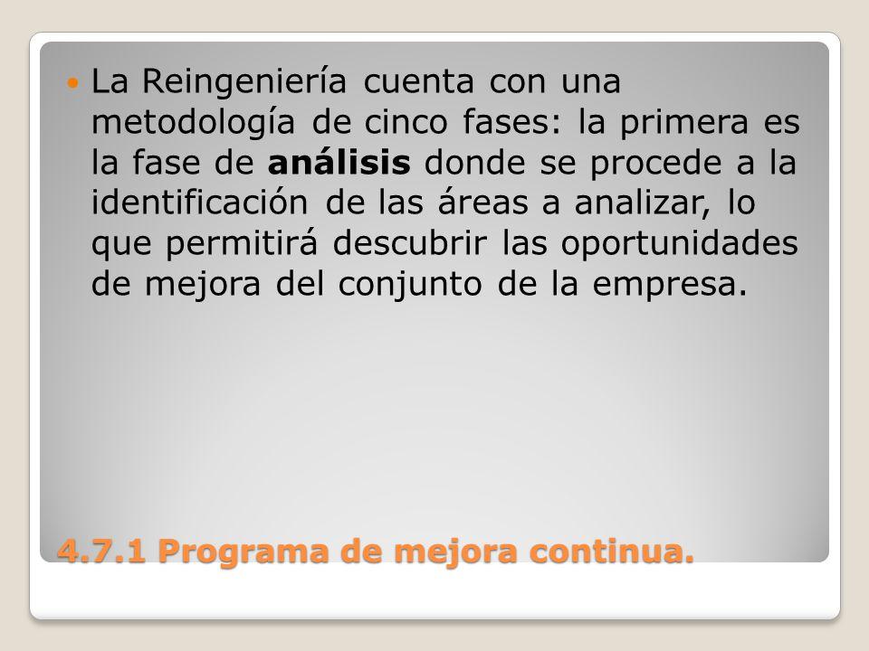 4.7.1 Programa de mejora continua. La Reingeniería cuenta con una metodología de cinco fases: la primera es la fase de análisis donde se procede a la