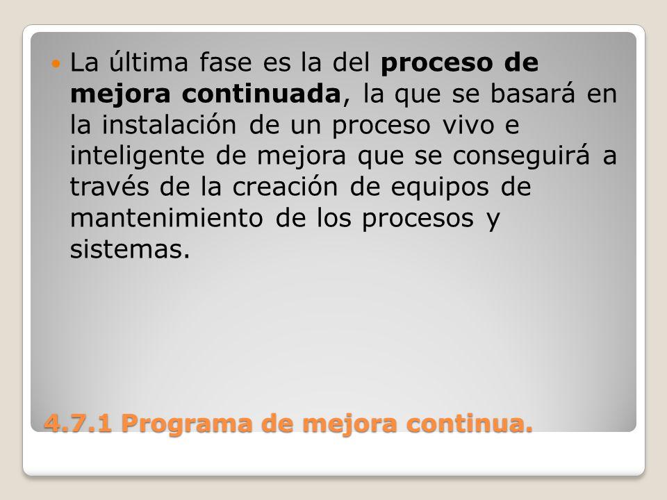 4.7.1 Programa de mejora continua. La última fase es la del proceso de mejora continuada, la que se basará en la instalación de un proceso vivo e inte