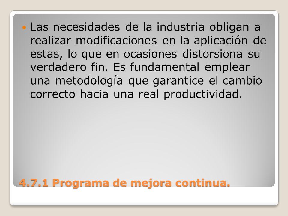 4.7.1 Programa de mejora continua. Las necesidades de la industria obligan a realizar modificaciones en la aplicación de estas, lo que en ocasiones di