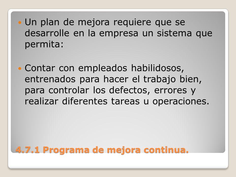 4.7.1 Programa de mejora continua. Un plan de mejora requiere que se desarrolle en la empresa un sistema que permita: Contar con empleados habilidosos