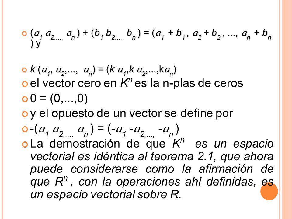 ( ɑ 1 ɑ 2,..., ɑ n ) + (b 1 b 2,..., b n ) = ( ɑ 1 + b 1, ɑ 2 + b 2,..., ɑ n + b n ) y ( ɑ 1 ɑ 2,..., ɑ n ) + (b 1 b 2,..., b n ) = ( ɑ 1 + b 1, ɑ 2 +
