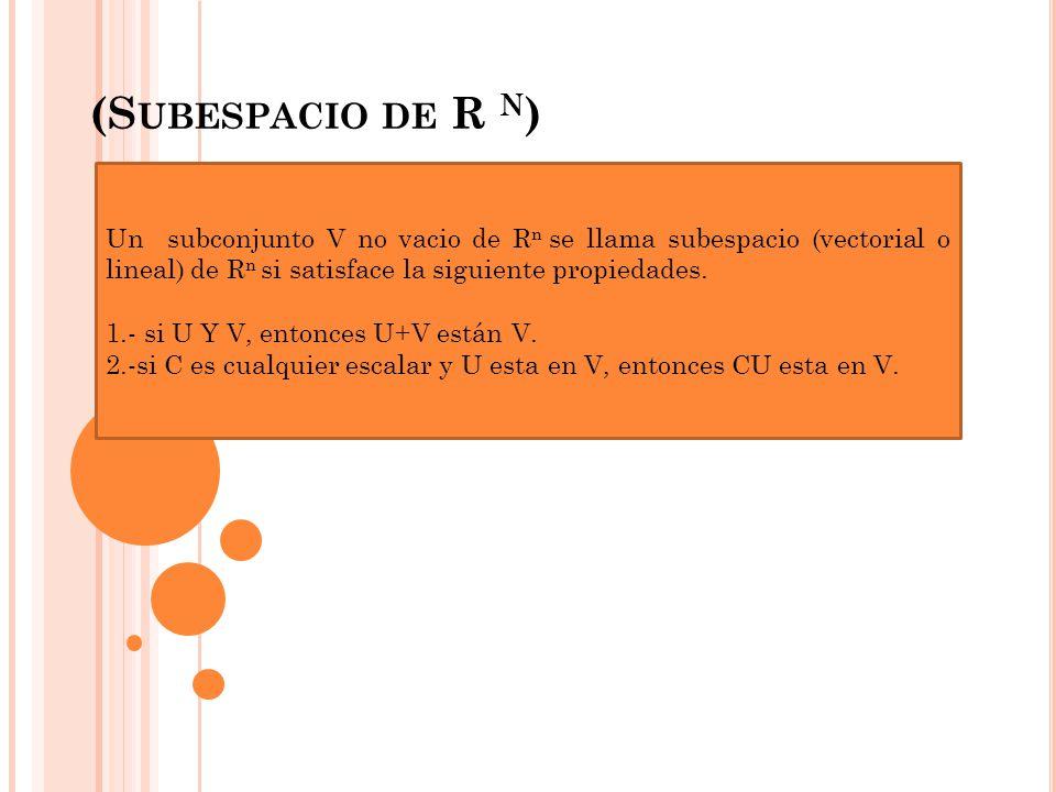 (S UBESPACIO DE R N ) Un subconjunto V no vacio de R n se llama subespacio (vectorial o lineal) de R n si satisface la siguiente propiedades. 1.- si U
