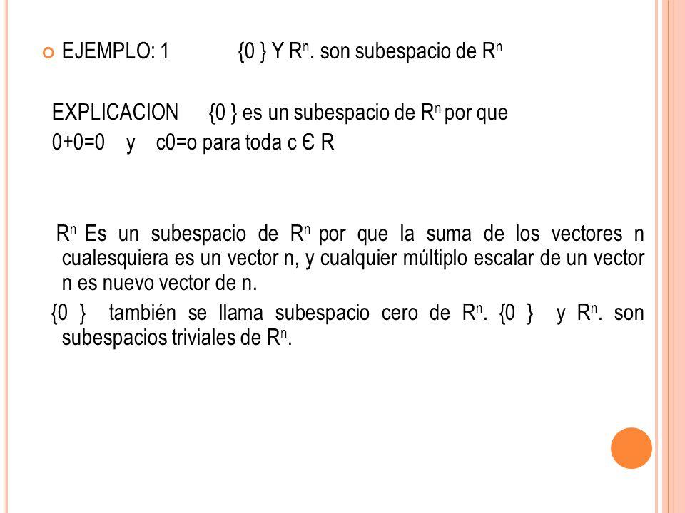 EJEMPLO: 1 {0 } Y R n. son subespacio de R n EXPLICACION {0 } es un subespacio de R n por que 0+0=0 y c0=o para toda c Є R R n Es un subespacio de R n