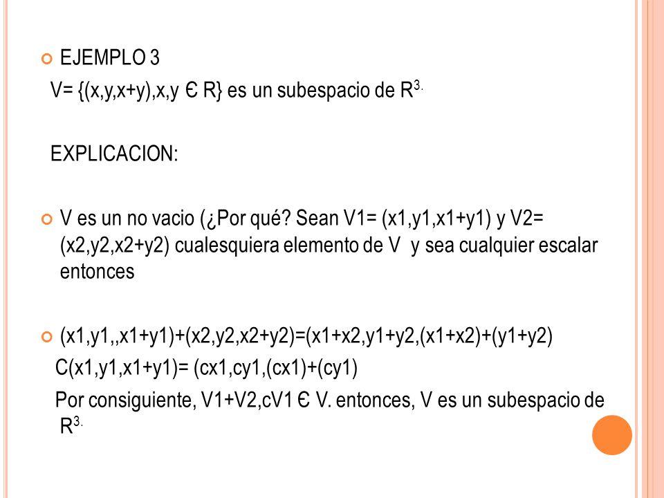 EJEMPLO 3 V= {(x,y,x+y),x,y Є R} es un subespacio de R 3. EXPLICACION: V es un no vacio (¿Por qué? Sean V1= (x1,y1,x1+y1) y V2= (x2,y2,x2+y2) cualesqu