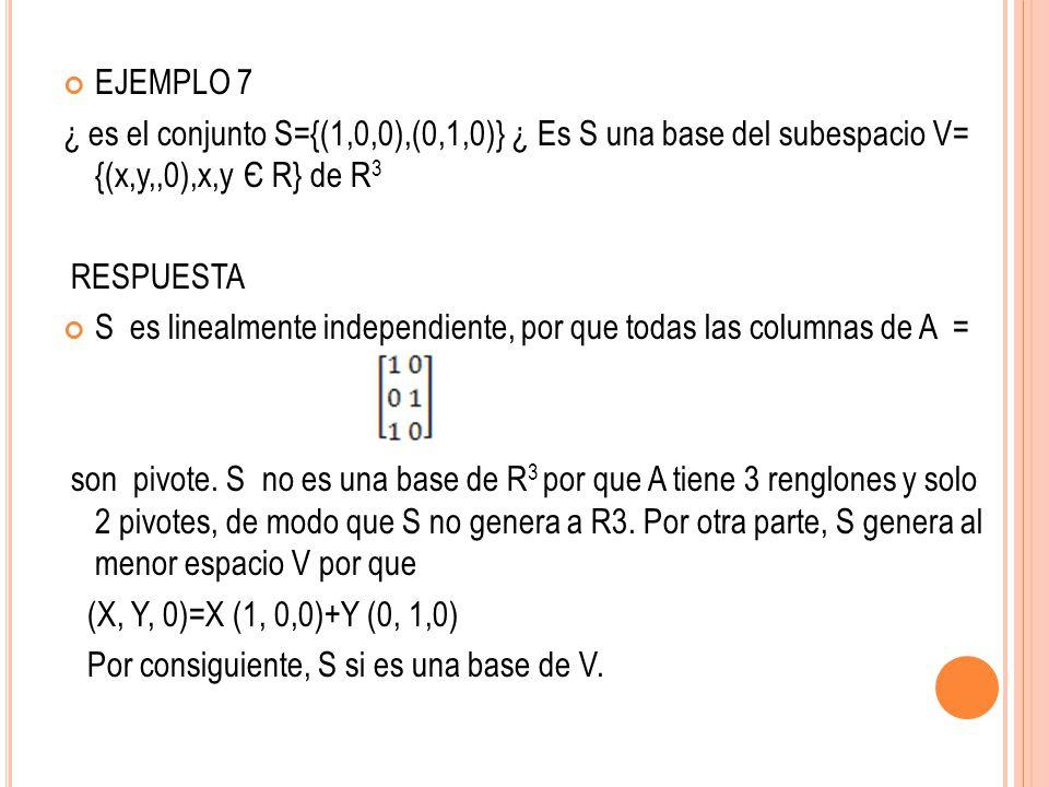 EJEMPLO 7 ¿ es el conjunto S={(1,0,0),(0,1,0)} ¿ Es S una base del subespacio V= {(x,y,,0),x,y Є R} de R 3 RESPUESTA S es linealmente independiente, p