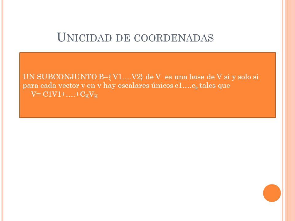U NICIDAD DE COORDENADAS UN SUBCONJUNTO B={ V1….V2} de V es una base de V si y solo si para cada vector v en v hay escalares únicos c1….c k tales que