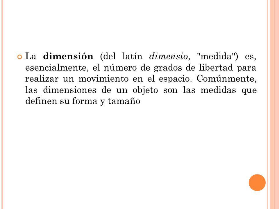 La dimensión (del latín dimensio,