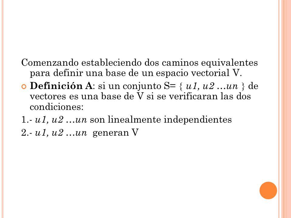 Comenzando estableciendo dos caminos equivalentes para definir una base de un espacio vectorial V. Definición A : si un conjunto S= u1, u2 …un de vect
