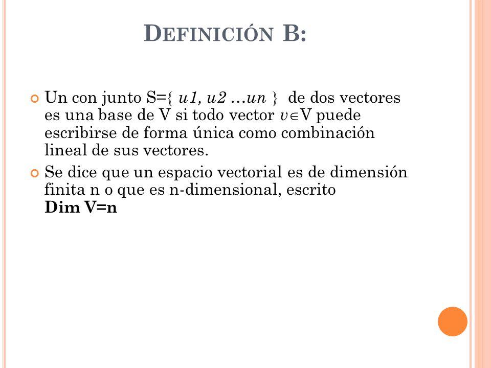 D EFINICIÓN B: Un con junto S= u1, u2 …un de dos vectores es una base de V si todo vector v V puede escribirse de forma única como combinación lineal