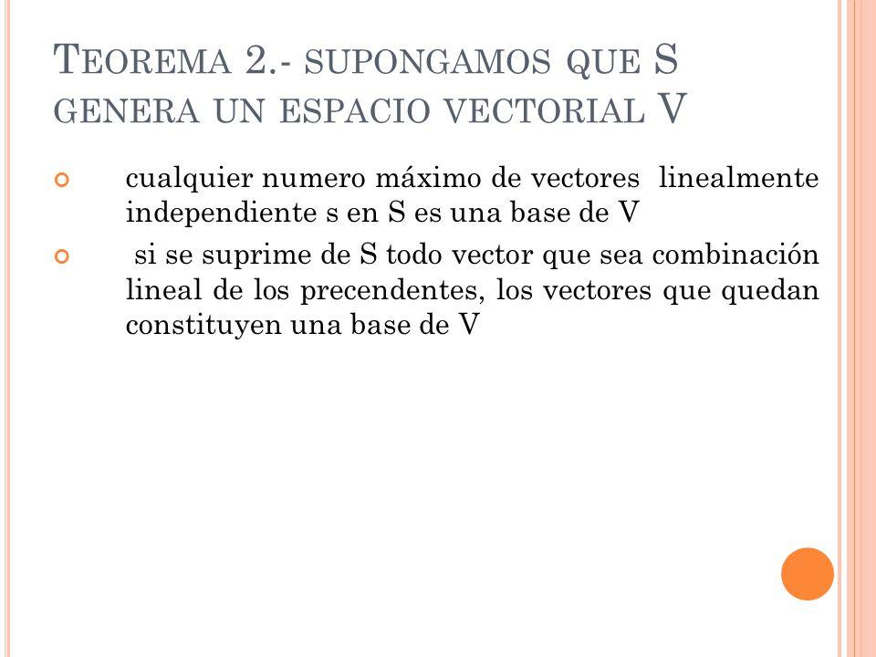 T EOREMA 2.- SUPONGAMOS QUE S GENERA UN ESPACIO VECTORIAL V cualquier numero máximo de vectores linealmente independiente s en S es una base de V si s
