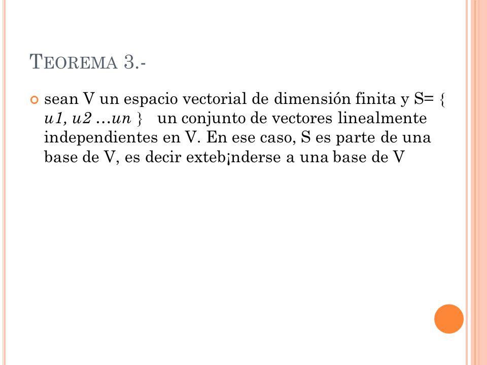 T EOREMA 3.- sean V un espacio vectorial de dimensión finita y S= u1, u2 …un un conjunto de vectores linealmente independientes en V. En ese caso, S e