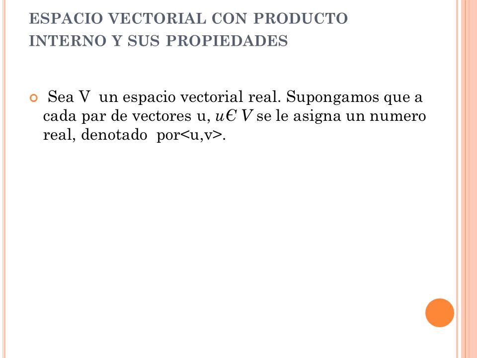 ESPACIO VECTORIAL CON PRODUCTO INTERNO Y SUS PROPIEDADES Sea V un espacio vectorial real. Supongamos que a cada par de vectores u, uЄ V se le asigna u