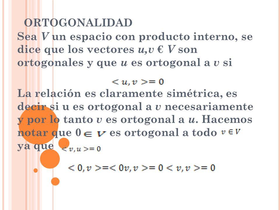ORTOGONALIDAD Sea V un espacio con producto interno, se dice que los vectores u,v V son ortogonales y que u es ortogonal a v si La relación es clarame