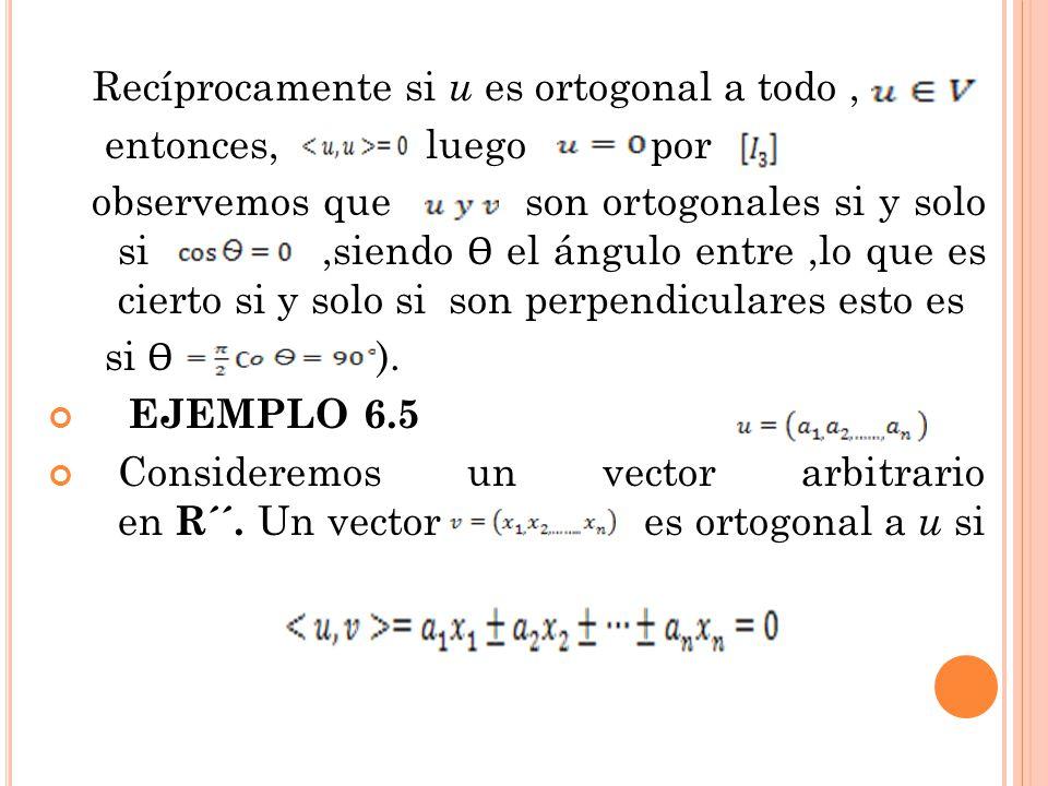 Recíprocamente si u es ortogonal a todo, entonces, luego por observemos que son ortogonales si y solo si,siendo Ѳ el ángulo entre,lo que es cierto si