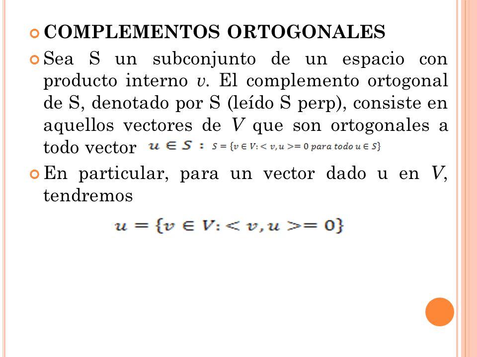 COMPLEMENTOS ORTOGONALES Sea S un subconjunto de un espacio con producto interno v. El complemento ortogonal de S, denotado por S (leído S perp), cons