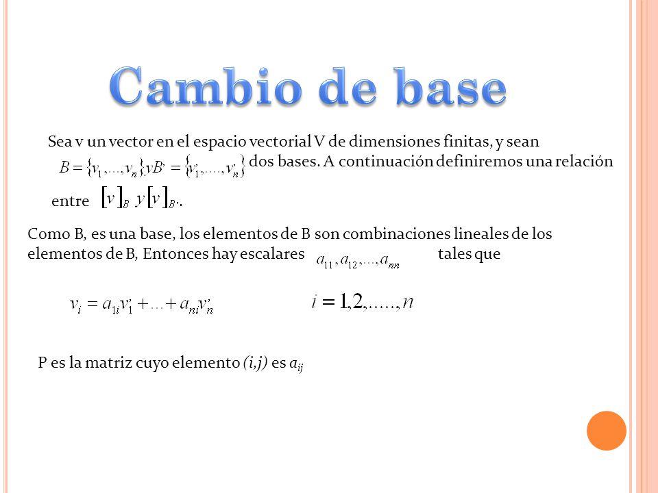 Sea v un vector en el espacio vectorial V de dimensiones finitas, y sean dos bases. A continuación definiremos una relación entre. Como B, es una base