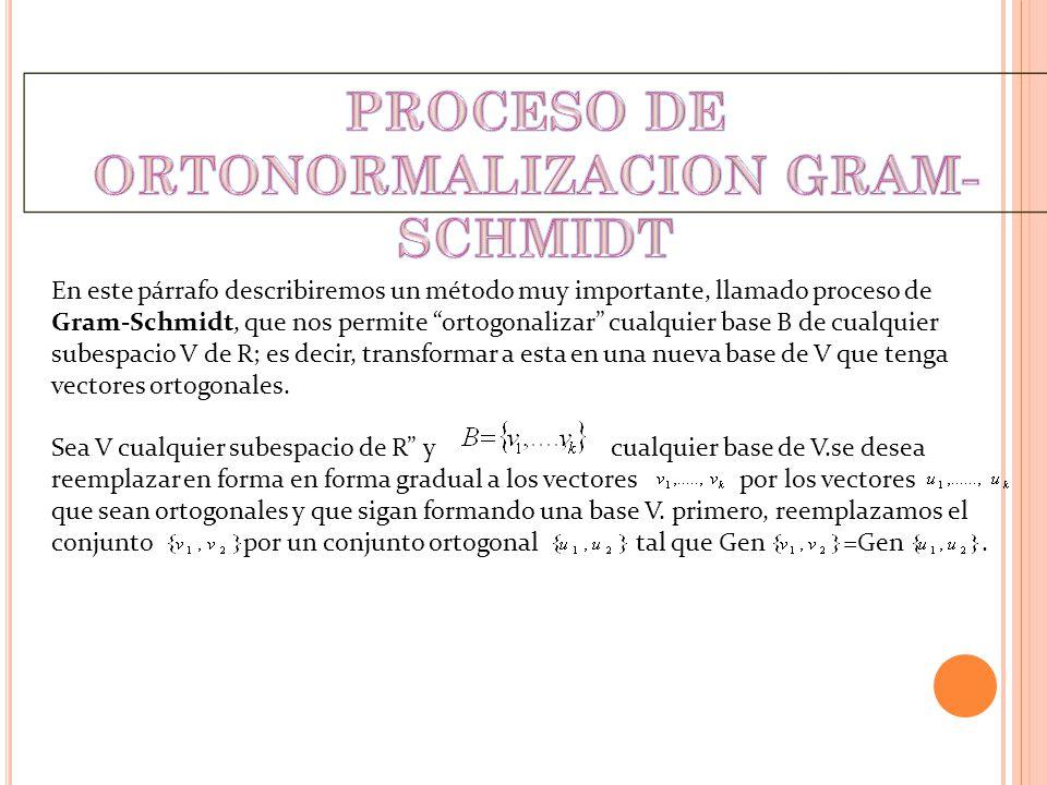 En este párrafo describiremos un método muy importante, llamado proceso de Gram-Schmidt, que nos permite ortogonalizar cualquier base B de cualquier s