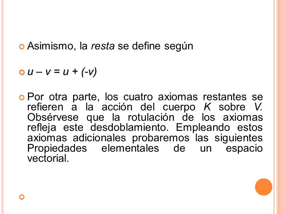 Asimismo, la resta se define según u – v = u + (-v) u – v = u + (-v) Por otra parte, los cuatro axiomas restantes se refieren a la acción del cuerpo K